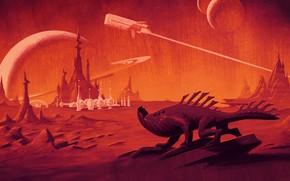Картинка sky, landscape, spaceship, planet, artwork, illustrartion