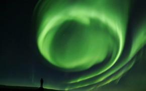 Картинка ночь, северное сияние, завиток