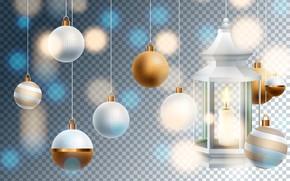 Картинка фон, праздник, шары, игрушки, новый год, свеча, вектор