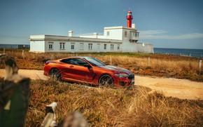 Картинка побережье, здание, купе, BMW, Coupe, 2018, 8-Series, тёмно-оранжевый, M850i xDrive, 8er, G15