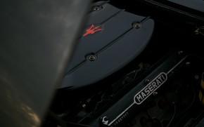 Картинка чёрный, Maserati, 1969, родстер, спайдер, под капотом, Ghibli Spider