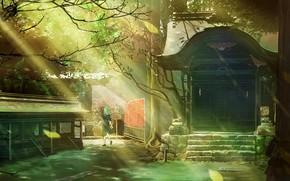 Картинка девушка, природа, храм, солнечные лучи