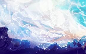 Картинка девушки, корабли, под водой, тонет, сирена