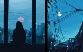 Картинка девушка, рисунок, силуэт, арт, art, Aenami, by Aenami, Alena Aenami, by Alena Aenami, Evening Sadness