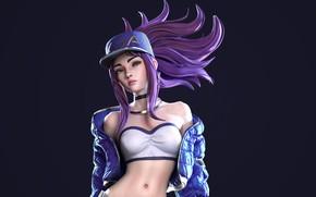 Картинка взгляд, девушка, фон, кепка, Akali, League Of Legends, Cap