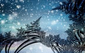 Картинка зима, снег, фракталы