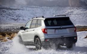 Картинка дорога, снег, сзади, Honda, 2019, Passport