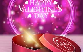 Картинка коробка, сердце, графика, день святого валентина, Valentine's Day