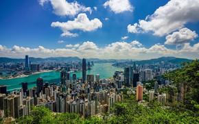 Обои облака, Hong Kong, Гонконг, небо, утро