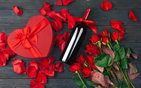 Картинка коробка, подарок, вино, розы, букет, Сердце, День святого валентина