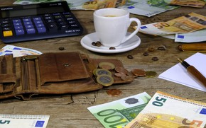 Картинка евро, деньги, монеты