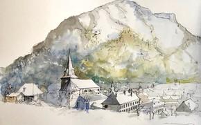 Картинка пейзаж, город, рисунок, Франция, акварель, Ле-Бур-д'Уазан