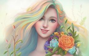 Картинка девушка, цветы, улыбка, рисунок, портрет