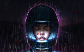 Картинка Стиль, Girl, Фон, Light, Style, Night, Rain, Illustration, Helmet, Synth, Retrowave, Synthwave, New Retro Wave, …
