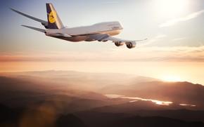 Картинка Солнце, Небо, Самолет, Лайнер, Борт, Boeing, 747, Lufthansa, Boeing 747