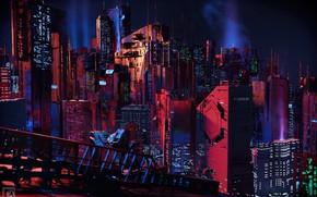 Картинка Ночь, Город, Будущее, Небоскребы, City, Fantasy, Архитектура, Night, Фантастика, Future, Skyscrapers, Architecture, by Bruce Conners, …