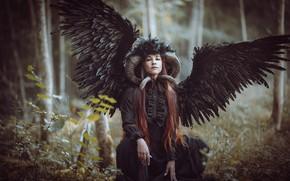 Картинка взгляд, девушка, женщина, портрет, крылья, ангел, демон, рога, черные, демоническая