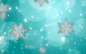 Картинка круги, снежинки, фон, голубой
