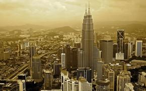 Картинка город, обработка, сепия, Малайзия, Куала Лумпур
