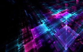 Картинка отражения, абстракция, кубы, квадраты, грани, геометрия, голограмма, проекция, голография