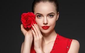 Картинка цветок, девушка, лицо, роза, портрет, макияж, красная, фотомодель