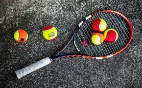 Картинка фон, мячи, ракетка, теннис