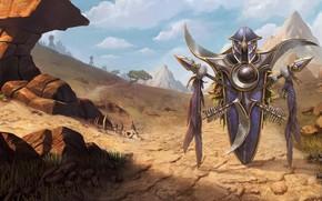 Картинка World of Warcraft, game, desert, mountains, weapons, digital art, artwork, shield, fantasy art, spears, arrows, …