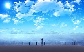 Картинка море, небо, солнце, девочка