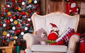 Картинка праздник, игрушки, елка, кресло, мишка, Новый год, декорации