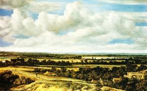 Картинка картина, Филипс Конинк, Philips Koninck, Пейзаж с дорогой у реки