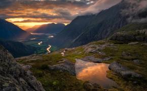 Картинка закат, горы, река, вечер, Норвегия, Norway, Romsdalen, Ole Henrik Skjelstad