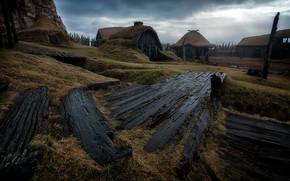 Картинка природа, домики, Исландия