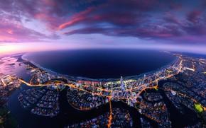 Картинка море, небо, облака, город, огни, океан, побережье, Австралия, Queensland, Квинсленд, Голд-Кост