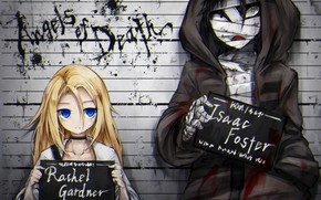 Картинка девушка, фото, фон, таблички, парень, Ангел кровопролития, Satsuriku no Tenshi