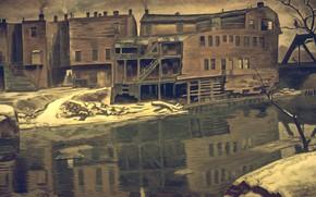 Обои Charles Ephraim Burchfield, 1932-38, Old House by Creek