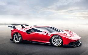 Картинка машина, небо, асфальт, Ferrari, спорткар, диски, P80/C