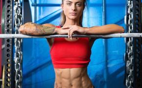 Картинка bar, tattoo, fitness, fitness model, abs