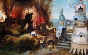 Картинка Иероним БОСХ, 1550-1560, Искушение святого Антония, Мастерская Херри мет де Блеса