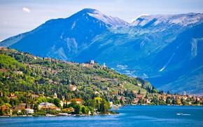 Картинка горы, озеро, Альпы, Италия, Gardone Riviera, Гарда, Гардоне-Ривьера