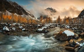 Картинка облака, деревья, пейзаж, горы, природа, река, камни, берега, Краси Матаров