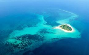 Картинка океан, остров, Африка, Thanda Islands, Tanzania Aerial, Shungimbili Island