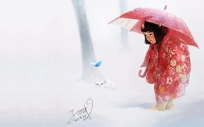 Картинка зима, бабочка, арт, котёнок, чудо, детская, первый снег, Painting practice, Eli Fabien