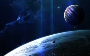 Картинка Звезды, Планета, Космос, Арт, Stars, Space, Art, Спутник, Planet, Dream, Satellite, Спутники, Vadim Sadovski, by …