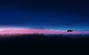 Картинка небо, фантастика, человек, провод, защитный костюм