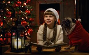Картинка улыбка, настроение, собака, Рождество, девочка, фонарь, мопс, Новый год, книга, ёлка, колпак, косы, Георгий Бондаренко