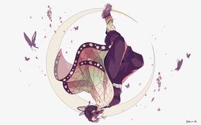 Картинка девушка, бабочки, месяц, Клинок Рассекающий Демонов, Demon Slayer: Kimetsu No Yaiba