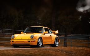 Картинка Авто, Желтый, 911, Porsche, Машина, Porsche 911, Carrera, 1993, Спорткар, Porsche 911 Carrera, 911 Carrera ...
