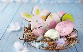 Картинка праздник, colorful, пасха, rabbit, easter, cookies, egg