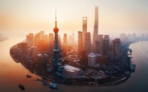 Картинка свет, город, утро, Китай, Shanghai, Шанхай, КНР