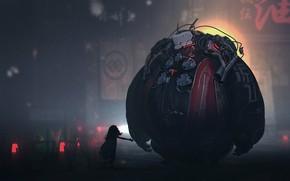 Картинка машина, робот, полумрак, иероглиф, ребёнок